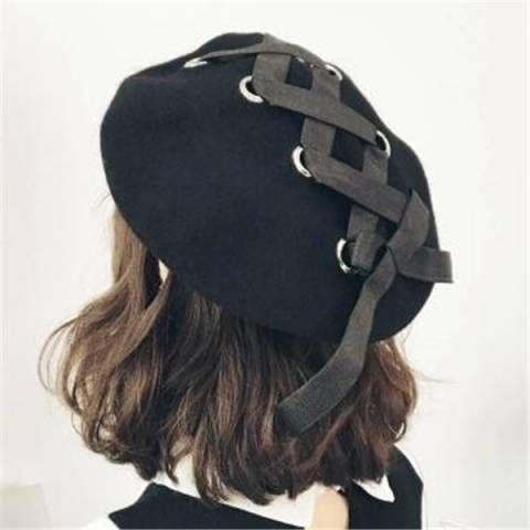Plain black beret hat for women lace up berets wool hats winter wear