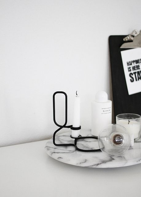 marble tray + candles