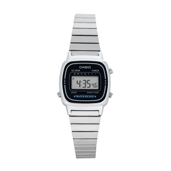 Casio Women's 23mm LA670WA-2D Digital Watch (1,235 PHP) ❤ liked on Polyvore featuring jewelry, watches, blue jewelry, silver digital watch, digital watch, silver jewellery and silver jewelry