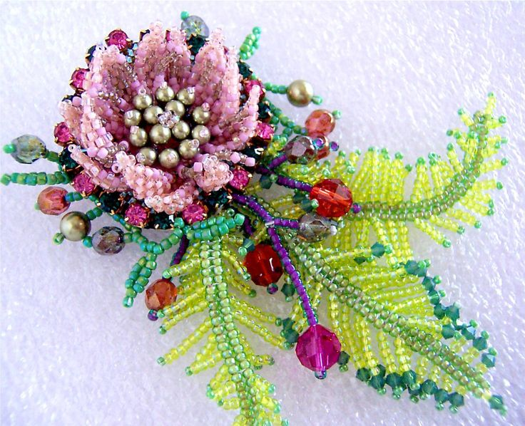 Pink and Green Flower Leaves Beanded Brooch E122 VIRR by VIRR