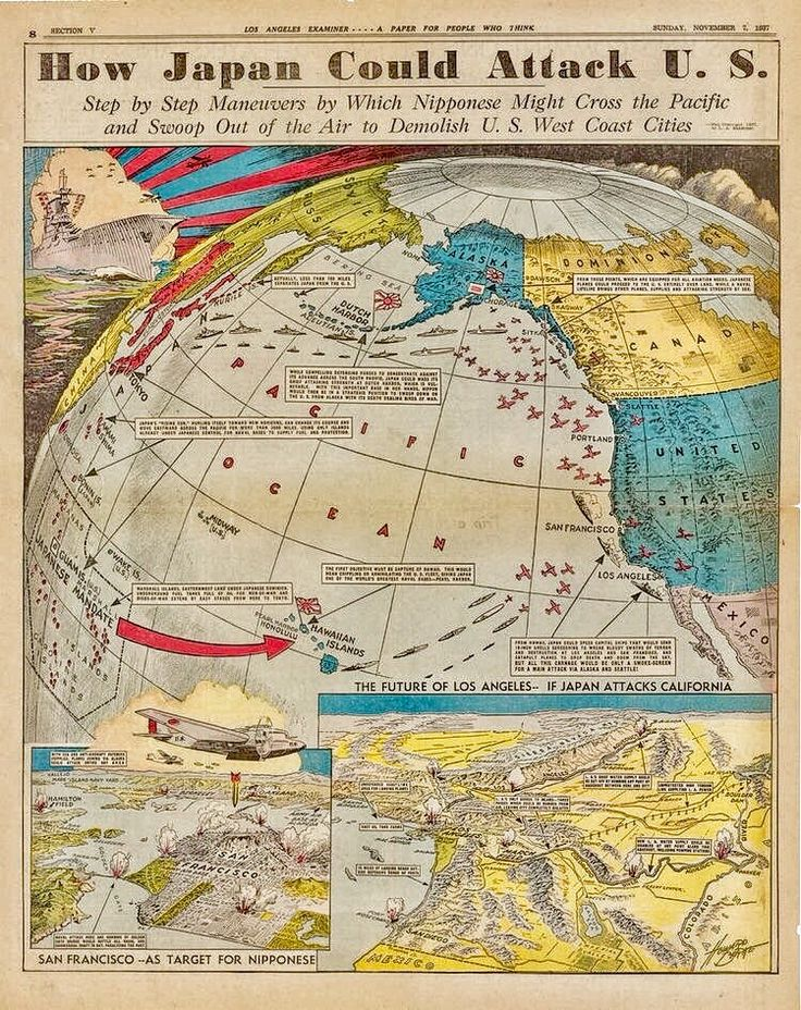 In 1937, the Los Angeles Examiner published a prescient map predicting how Imperial Japan could attack the US during World War II. Created by Howard A. Burke, the map imagined a Japanese attack on the US that closely predicted the Japanese attack on Pearl Harbor four years later on December 7, 1941. Burke rightly noted that Japan's first target would be Hawaii and the US fleet docked at Pearl Harbor.