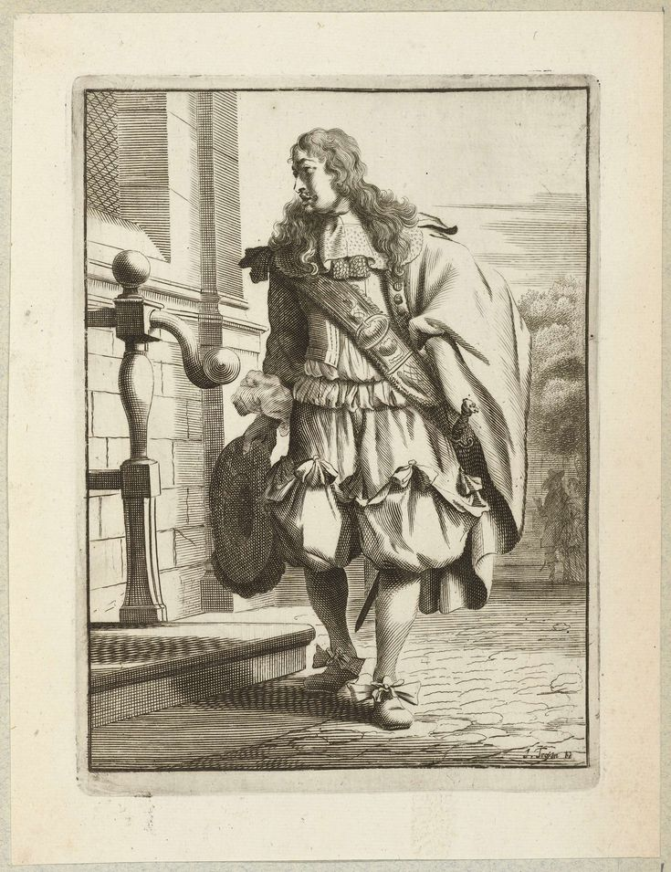 Heer, elegant gekleed volgens de mode van omstreeks 1660, staand voor de stoep van een huis, Jan van Troyen, Gerbrand van den Eeckhout, c. 1660