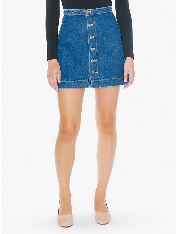 Buttoned Front A Line Denim Mini Skirt from American Apparel $62,00