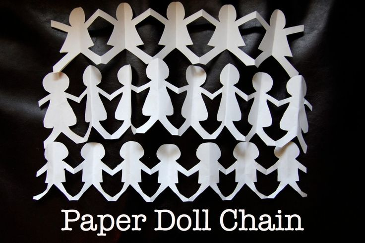 Paper Doll Chain - provide a stencil for children who are uncertain of how to do the process - trees, hearts, eggs, bears. Make sure that parts of the stencils go off the folded edges.