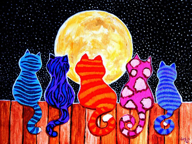 groepsopdracht:   Meowing at Midnight Painting  - Meowing at Midnight Fine Art Print