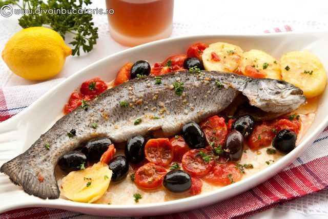Pastrav cu rosii si masline  - www.Foodstory.ro