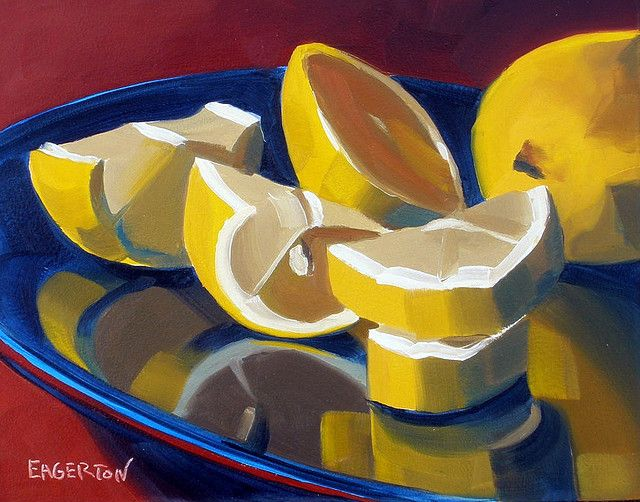 """""""Lemon Slices on Blue"""" by Leigh-Anne Eagerton, painting, via Flickr"""