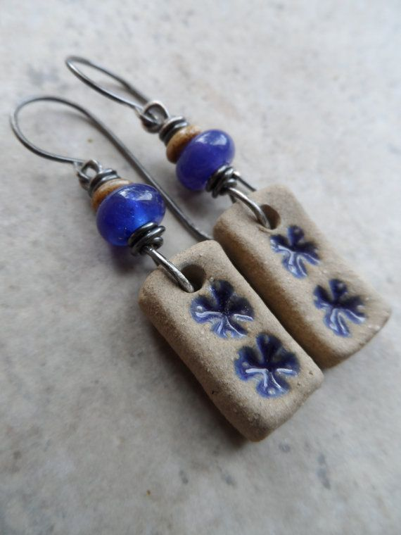 Sweet Cornflowers ... Lampwork, Ceramic and Sterling Silver Wire-Wrapped Floral, Boho, Woodland Earrings