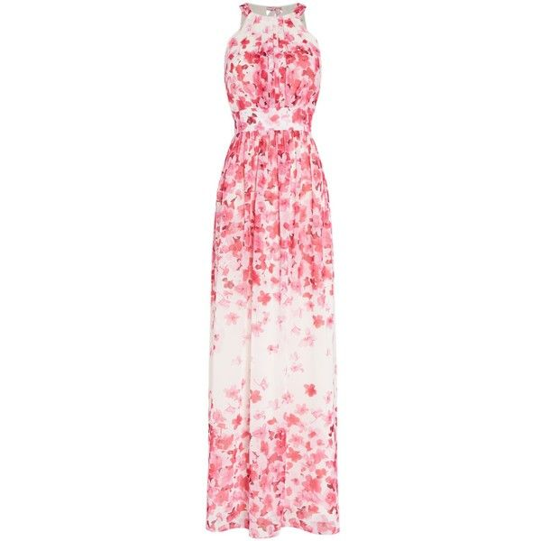 Eliza J Halter neck maxi dress (€200) ❤ liked on Polyvore featuring dresses, pink, women, halter top, pink halter dress, sleeveless dress, halter-neck tops and pink dress