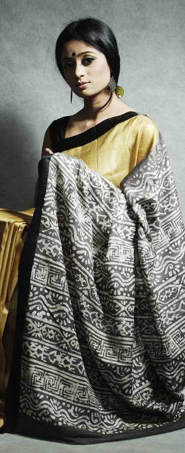 Tangail Handloom Saree from Dhaka. I love this saree. All golden with black border.