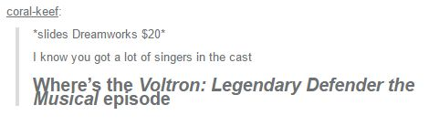 ESPECIALLY HAVING SHIRO, LANCE, AND KEITH HAVING THEIR OWN SOLO (their voices are magical~)