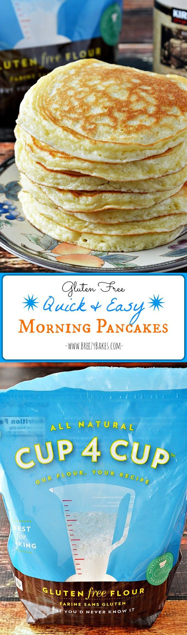 These Gluten Free Quick and Easy Morning Pancakes are an absolutely perfect gluten free pancake made with Cup 4 Cup Gluten Free Flour. You can make these any morning!