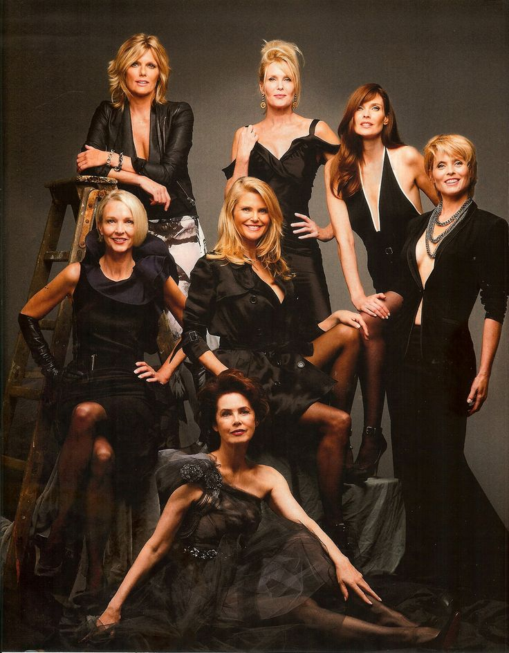 Legendary supermodels from the 60's, 70's and 80's photographed in 2012.  Patti Hansen, Nancy Donahue, Carol Alt, Kim Alexis, Kaaren Bjornson, Christie Brinkley, Dayle Haddon. Photographed by portrait photographer Timothy Greenfield-Sanders