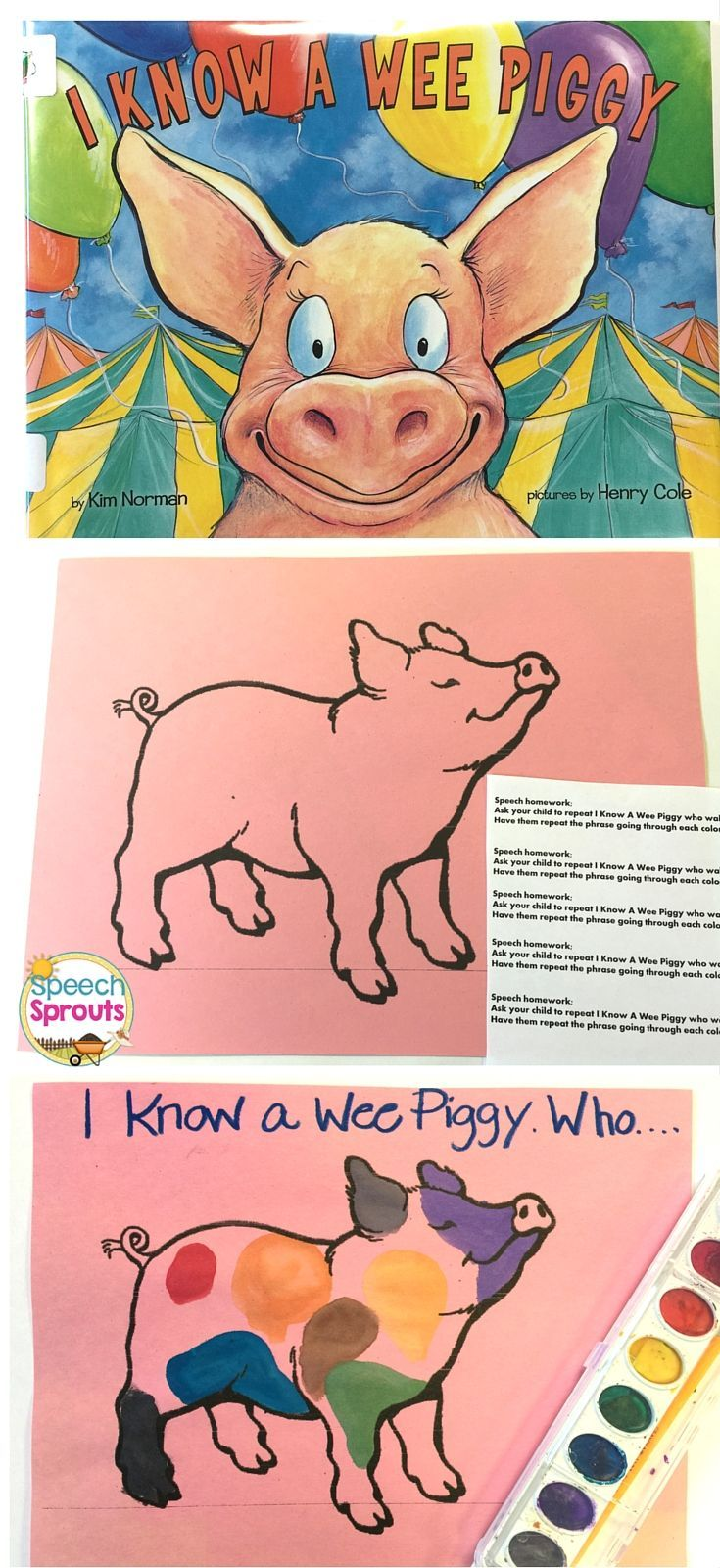 Have you read I Know a Wee Piggy? We had fun in Speech therapy  teaching colors with this mischievous little piglet.