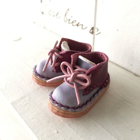 Real Leather:1/6 Blythe shoes/PurpleThistle/ by Amabiledoll