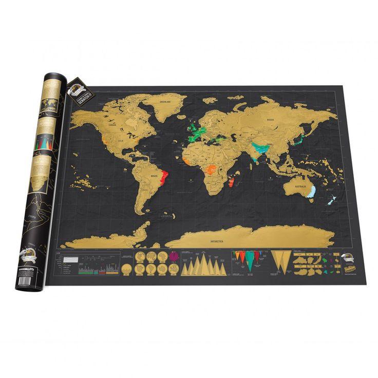 Notre mappemonde à gratter deluxe est l'accessoire indispensable des voyageurs! Elle fera apparaître les pays visités.