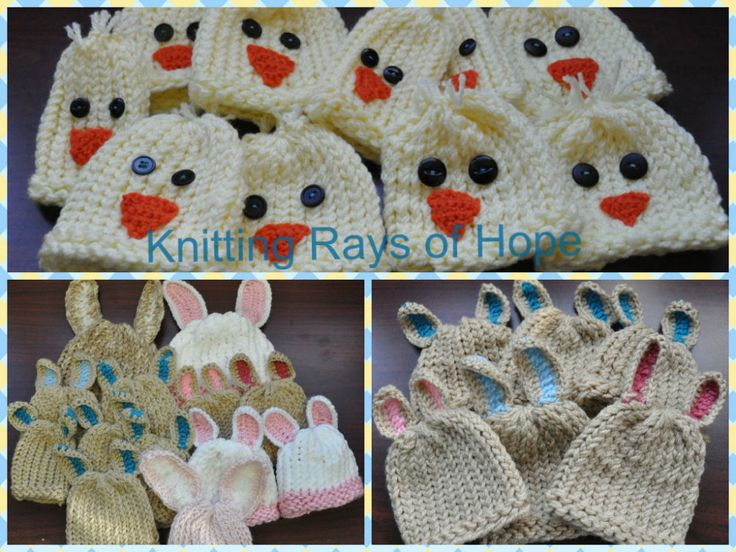Easter hats {Knitting Rays of Hope}