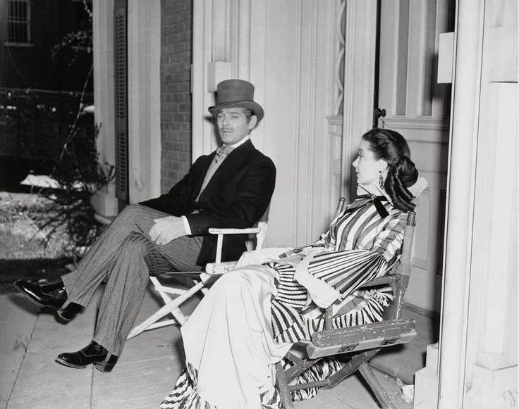 """Clark Gable & Vivian Leigh on the set of """"Gone With The Wind""""."""