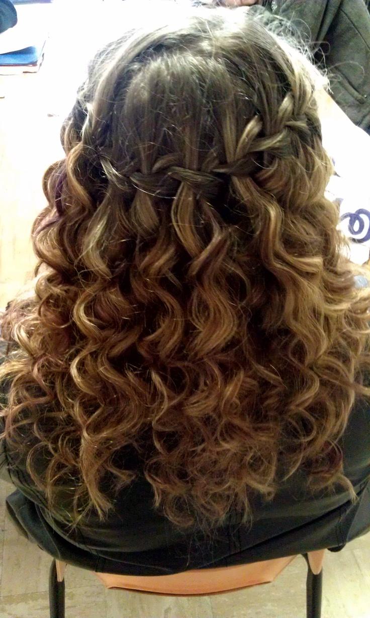 Curly Hair Waterfall Braid In 2019 Braided