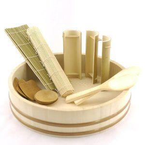 """BambooImportsMN 12"""" Sushi Oke Tub (Hangiri) with 13pc Sushi Making Accessory Pack"""