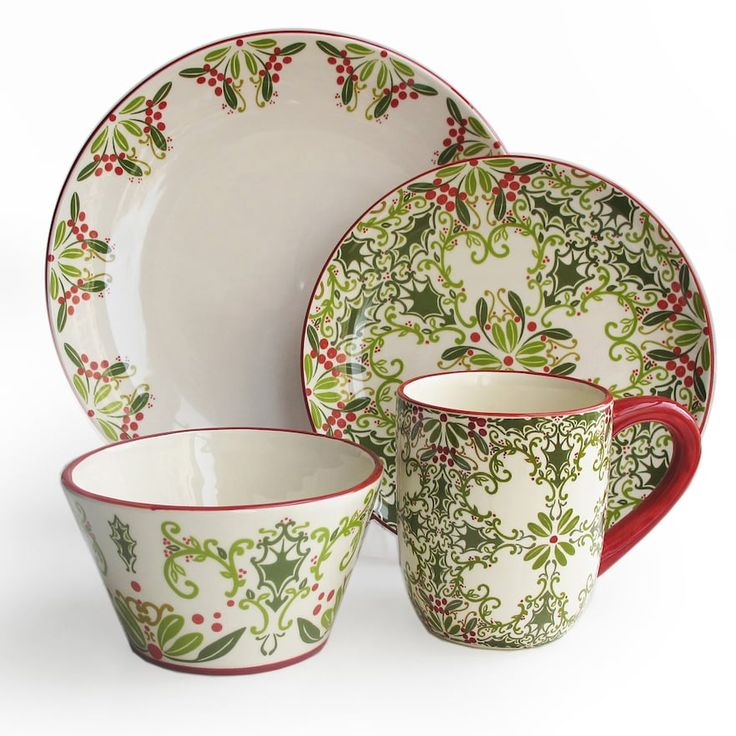 This 16-piece BARGELLO DINNERWARE SET by American Atelier features a holly and ivy design that's perfect for the season.    Christmas dinnerware sets| Christmas dish sets | holiday dinnerware sets | holiday plates