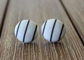 Beautiful black and white stripe handmade cotton earrings from local Brisbane designer, Renae from Reborn Handmade.Approximately 19mm and made with surgical grade stainless steel posts.Ships next business day. http://www.quirkystreet.com.au/product/handmade-earrings