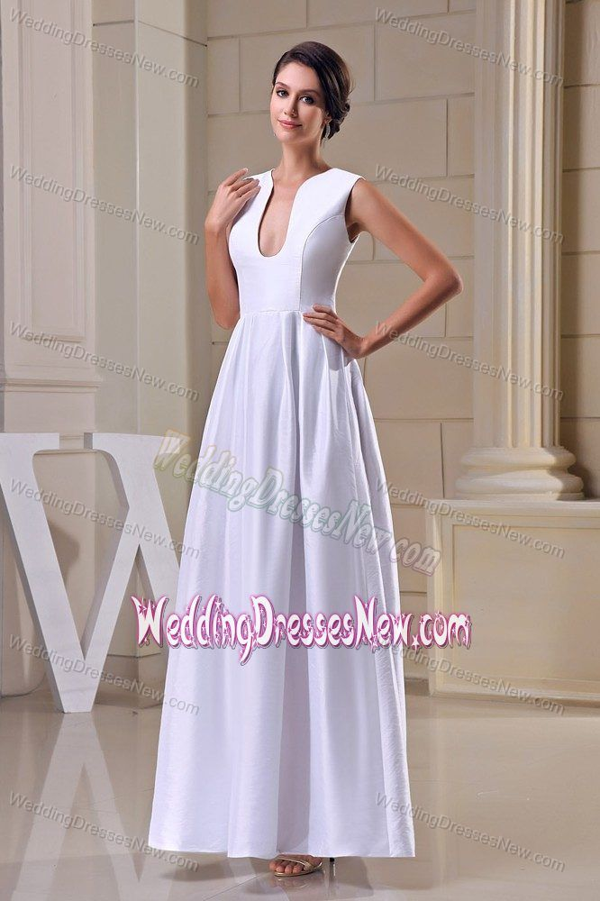 Ankle length a line v neck bridal dress with wide for Wedding dresses for broad shoulders