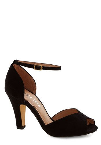 Fine Dining Heel in Noir by Chelsea Crew - Mid, Faux Leather, Black, Solid, Special Occasion, Prom, Party, Cocktail, Girls Night Out, Better, Peep Toe