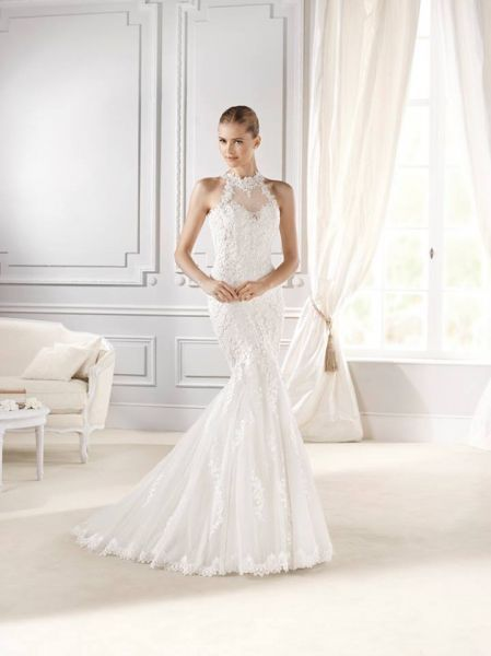 Vestidos de novia cuello halter 2017