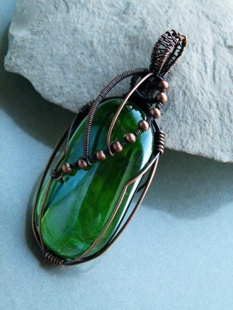 Copper wire wrapped green glass cabochon pendant  by DeFactoryshop, zł45.00