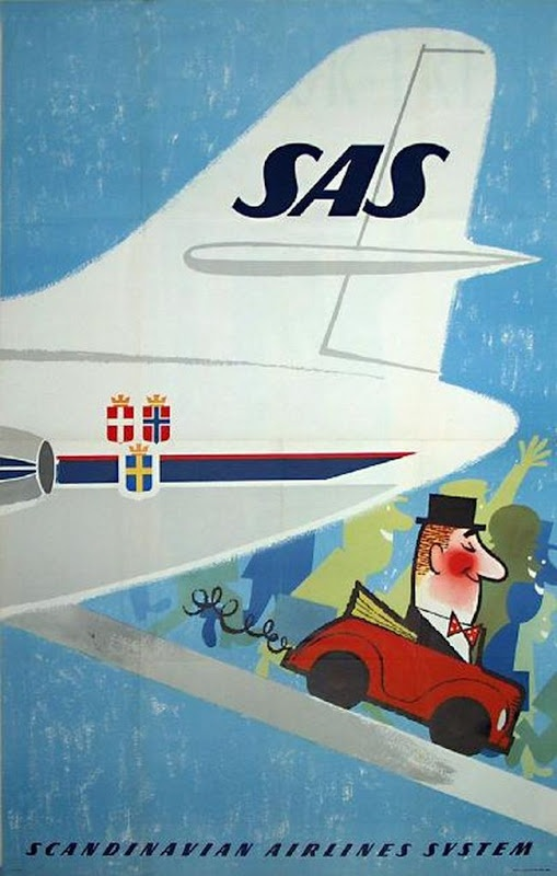 SAS - Scandinavian Airlines System vintage travel poster, 1960s