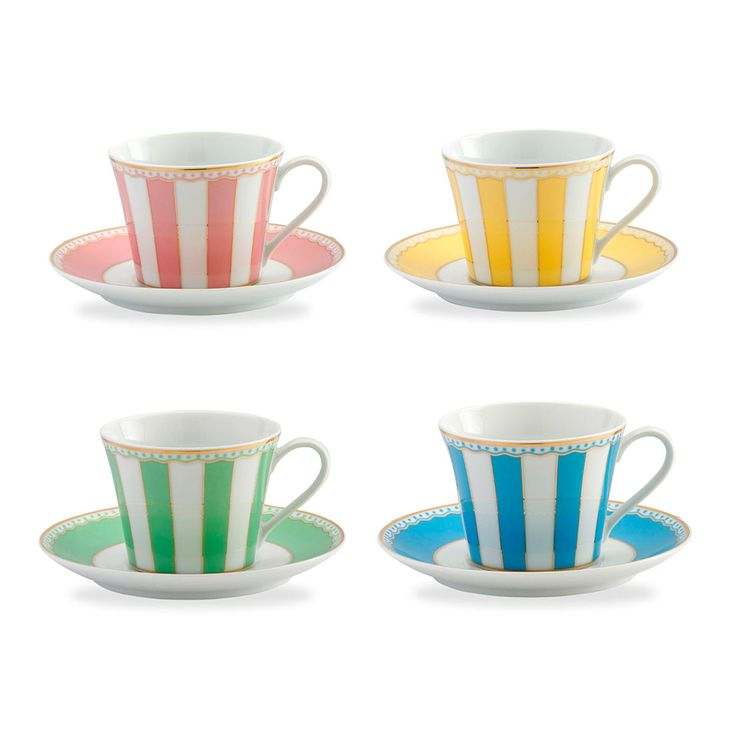 Noritake | Carnivale Cup and Saucer Set for 4 in Assorted Colours