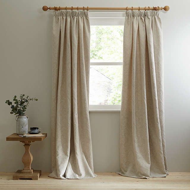 BuyJohn Lewis Country Damask Lined Pencil Pleat Curtains, Natural, W228 x Drop 182cm Online at johnlewis.com
