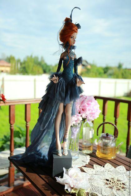 """Коллекционные куклы ручной работы. Кукла """"Графитовая"""". Володина Маша. Ярмарка Мастеров. Рыжая девочка, интерьерная кукла, винтажные кружева"""