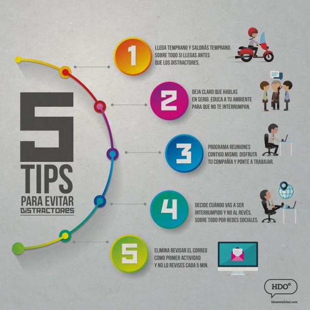 5 consejos para evitar la distracción en el trabajo #Infografia #RRHH #Infographic
