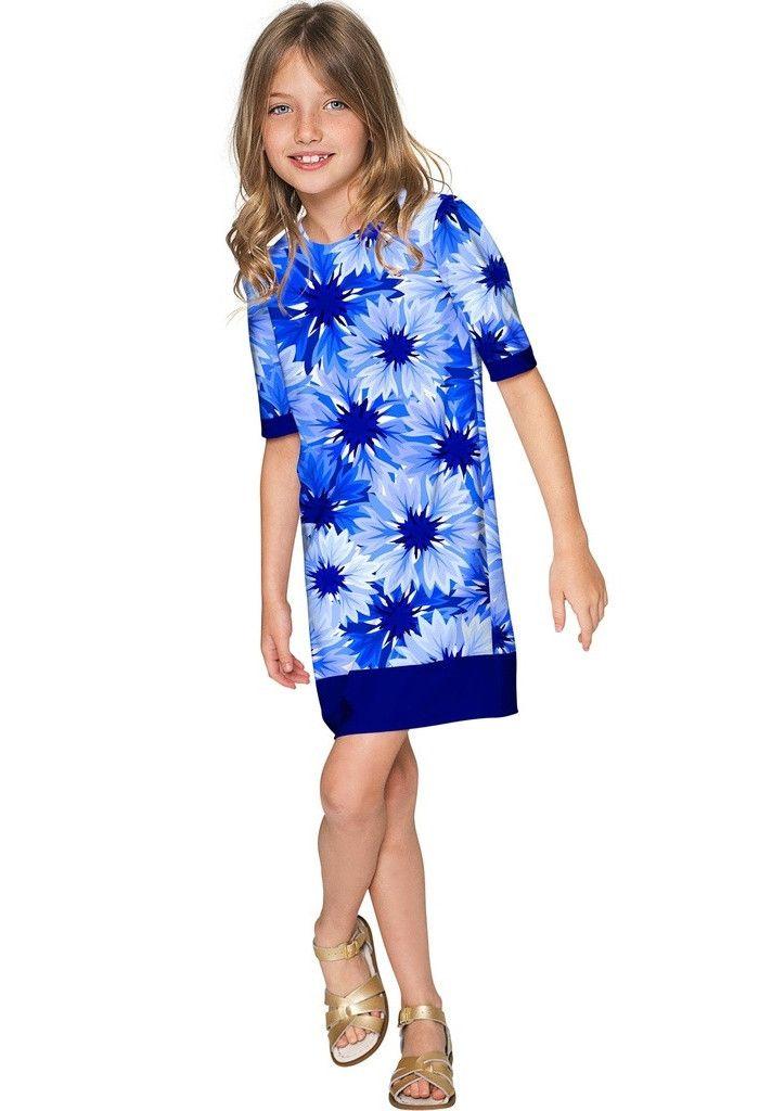 Wild Bloom Grace Blue Floral Pattern Cute Shift Dress - Girls