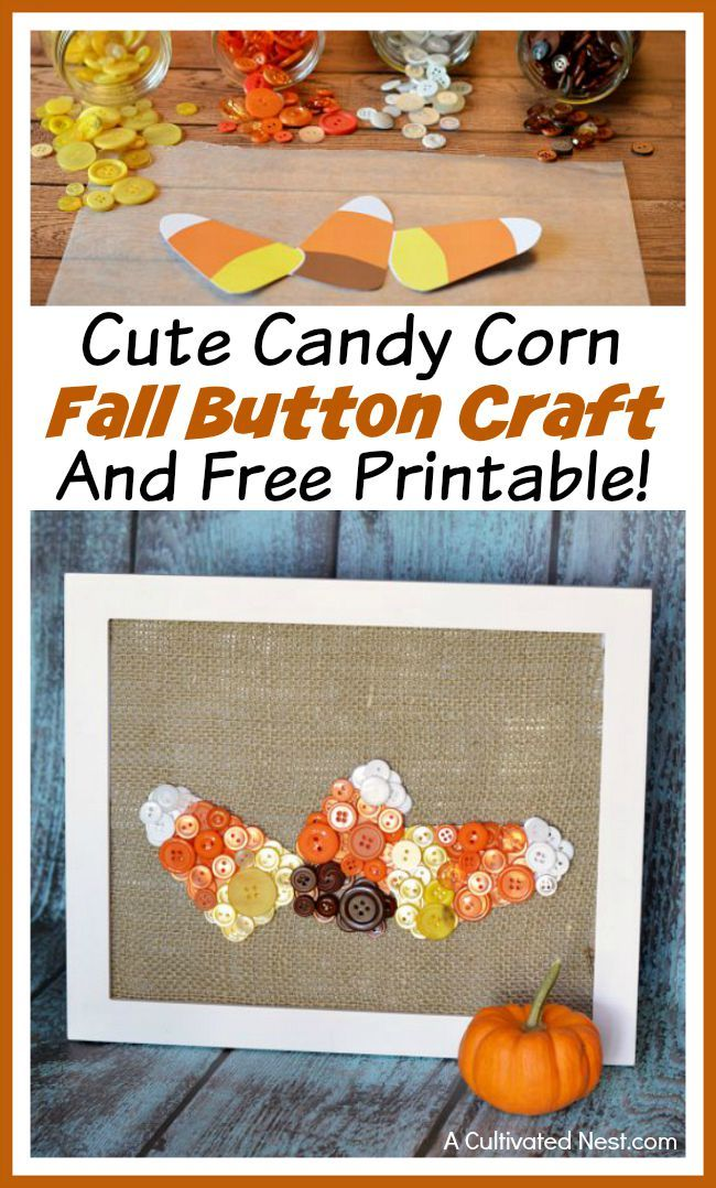 Cute candy corn fall button craft and free printable