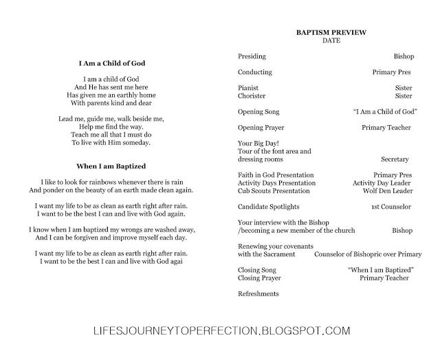 Best  Baptism Program Ideas On   Lds Baptism Program