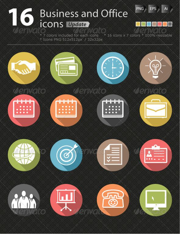 Business and office icon update  #GraphicRiver         - This pack contains 16 Business and Office icons  	 - Each icon is available in 2 formats (Vector and PNG )  	 - You can easily customize the colors on the EPS & AI version Works on any color.  	 - Contains: AI & EPS vector file (scalable to any size),  	 - Transparent PNG : 512×512px / 32×32px  	 - 7 colors included for each icons  	 Square icon version: graphicriver…