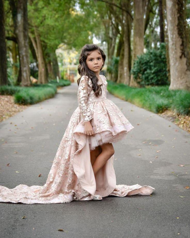 Vestidos de encaje apliques Niños Ropa formal 2016 rosa largo de la manga las muchachas de flor Para el vestido del desfile de bodas precioso Alto Bajo Niña