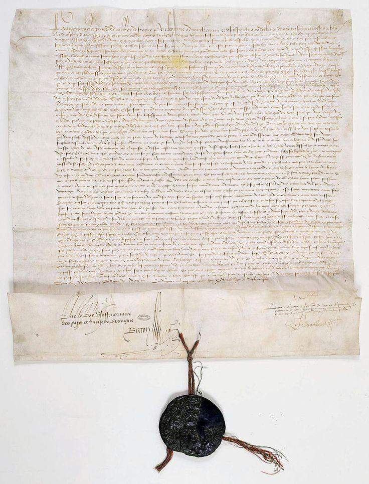 Lettres patentes d'août 1532 1 - Archives Nationales - AE-II-587 - Histoire de la Bretagne — Wikipédia