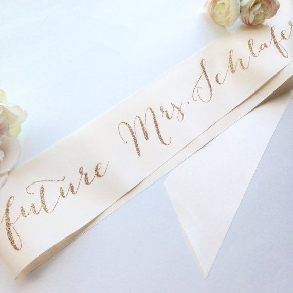 Bachelorette Future Mrs Bridal Sash by ShadesOfPinkPaperBtq