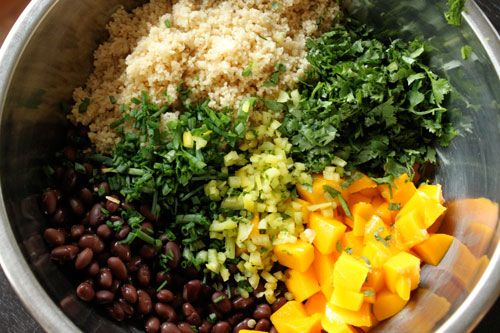 Mango black bean couscous salad Or you could sub the