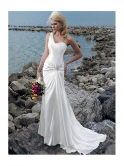 une épaule Trotteuse fleurs robes de train de mariage de plage