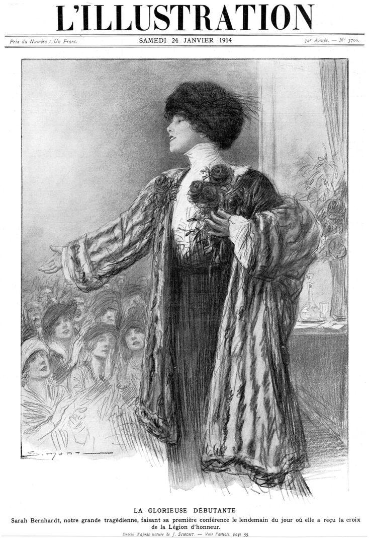 1914 Original Antique L'Illustration Parisian French Newspaper Cover Engraving Famous Theatre Actress Sarah Bernhardt Légion d'Honneur Prize by TheVintageProphecy on Etsy https://www.etsy.com/listing/254046683/1914-original-antique-lillustration