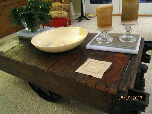 Antique Luggage Cart Coffee Table