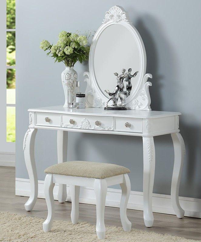 Poundex F4165 3 pc white finish wood make up bedroom vanity set