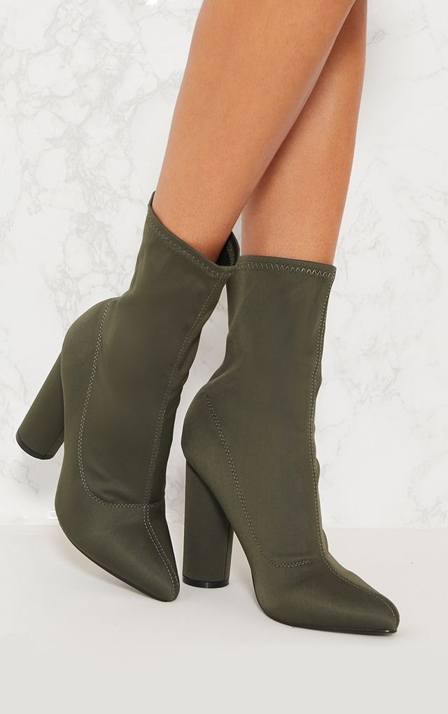 3dd0939f841f Khaki Block Heel Sock Boot