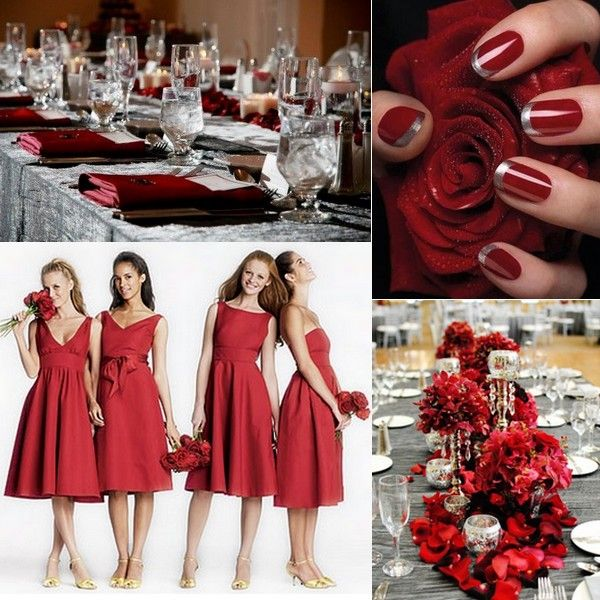 Silver tablecloths, red napkins, with the baby's breath/pine cone centerpieces (with red ribbon), and maybe some mason jars with floating candles and red cranberries