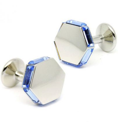 Blue Gemstone Silver Hexagon Cufflinks
